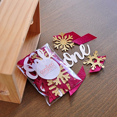 Flake Mix - Winter Onederland Party Decorations. 2 Packs. Burgundy, White Woodgrain and Gold Party Decorations.One and Snowflake Confetti Mix.