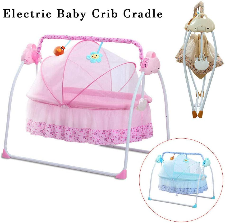 Timer 12 Melodies DHL Pink for 0-18 Months Baby Electric Baby Cradle Baby Swing Bluetooth Rocking Chair Bed Electric Cradle USB with Songs and Sound