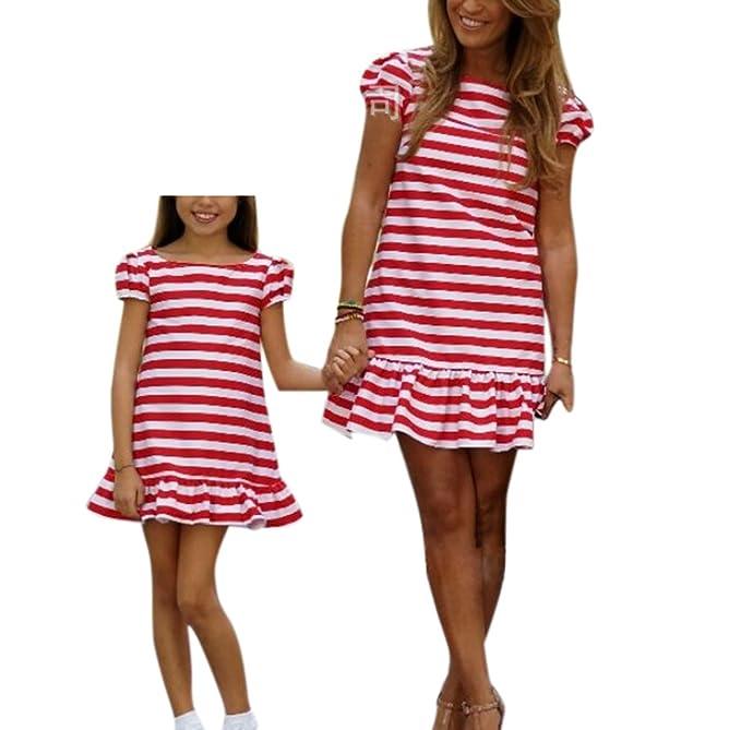 Vestido de rayas madre bebé vestido a juego vestido de verano a rayas mujer niña vestido