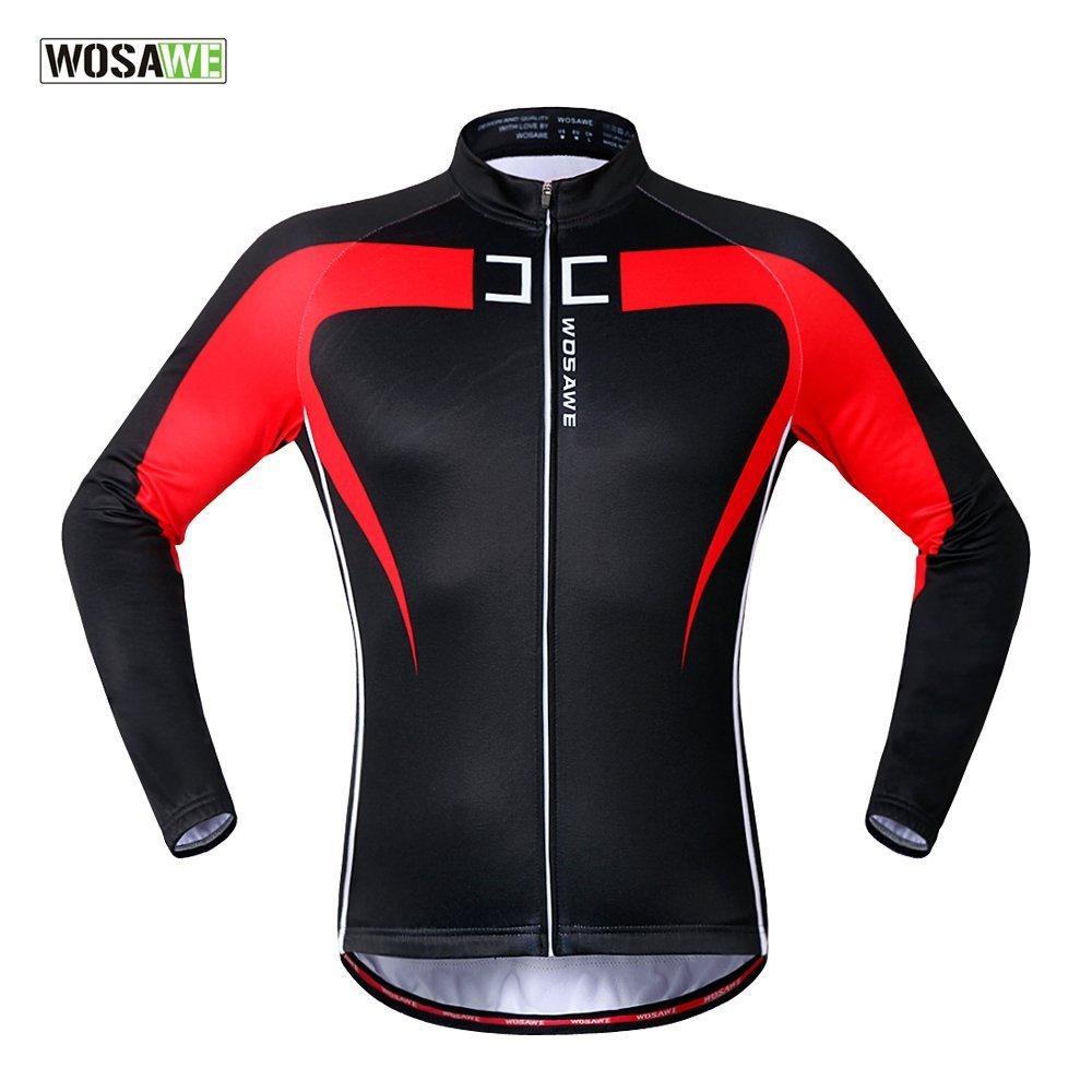 Wolfbike 自転車 サイクルジャケット ウインドブレーカー 軽量 撥水 サイクルウエア 防風 通気 バックポケット 反射材 アウトドア メンズ レディース 全5色 B018228DZ6 S|Black Red1 Black Red1 S