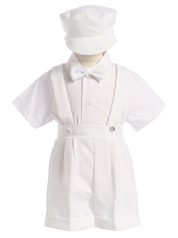 4-Piece Christening Baptism Suspender Short Set Black or White Cap Bowtie