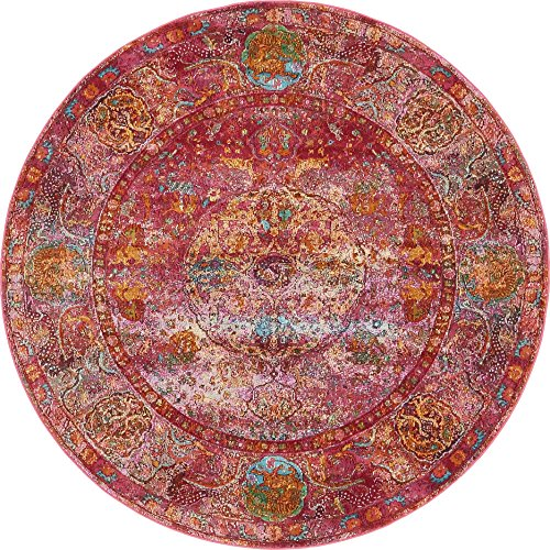 Unique Loom Baracoa Collection Bright Tones Vintage Traditional Red Round Rug (5' 5 x 5' 5) ()