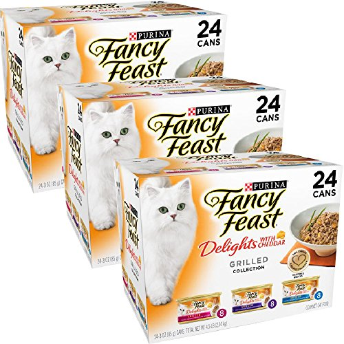 Purina Fancy Feast Delights with Cheddar Grilled Gourmet Wet Cat Food - (24) 3 oz. Cans (Cheddar Grilled Varieties 3 Pack of 24) by Purina Fancy Feast