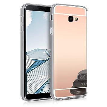 kwmobile Funda para Samsung Galaxy J4+ / J4 Plus DUOS - Carcasa Protectora [Trasera] de [TPU] para móvil en [Oro Rosa con Efecto Espejo]
