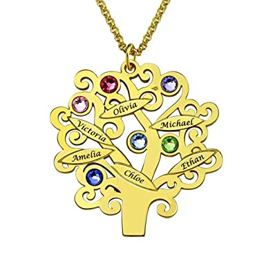 d822d22787d3 Sterling Silver Filigree Family Tree Birthstone Pendant Necklace - Custom  Made with Any Name (Gold