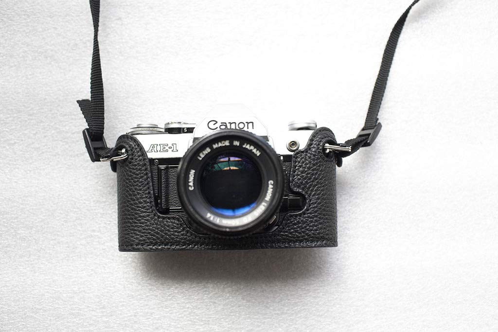 ハンドメイド 本革 ハーフカメラケースバッグカバー Canon AE-1用  ブラック B07KJMYR36