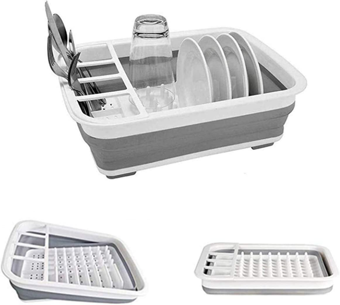 Collapsible Dish Drying Rack Portable Dish Drainer Dinnerware Organizer for Kitchen Counter RV Storage Campers