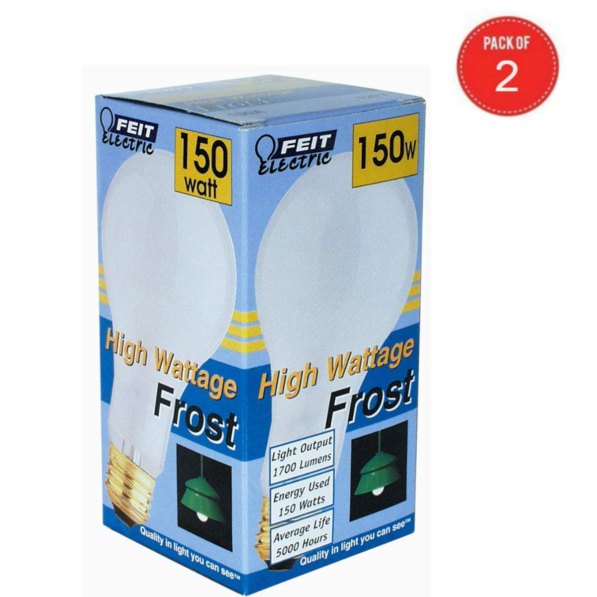 Feit Electric 150A 150-Watt Incandescent A21 Bulb (Pack of 2)