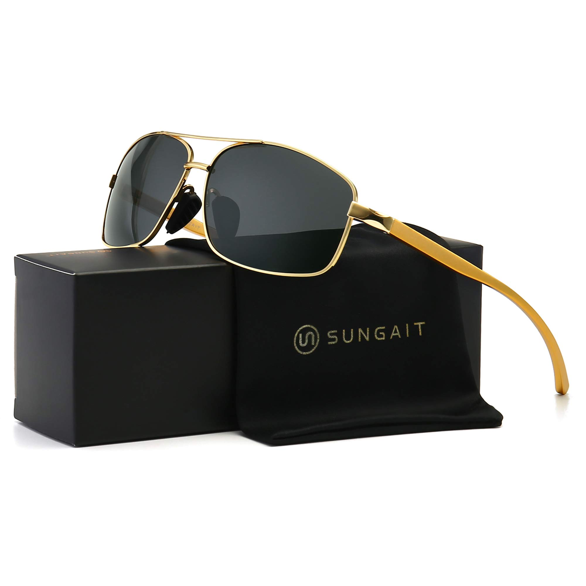 SUNGAIT Ultra Lightweight Rectangular Polarized Sunglasses UV400 Protection (Gold Frame Grey Lens, 62) Metal Frame 2458 JKH by SUNGAIT