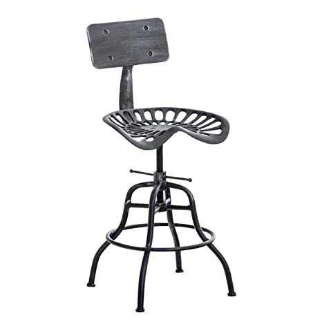 Cool Lokkhan Cast Iron Tractor Seat Bar Stool With Backrest Adjustable Swivel Industrial Stool Vintage Metal Bar Stool Kitchen Counter Height 26 4 Inch Ibusinesslaw Wood Chair Design Ideas Ibusinesslaworg