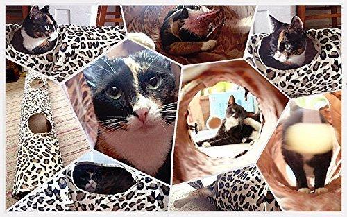 PAWZ Road Cat Tunnel Leopard Print Crinkly Cat Fun 2 Holes Long Tunnel Kitten Toys