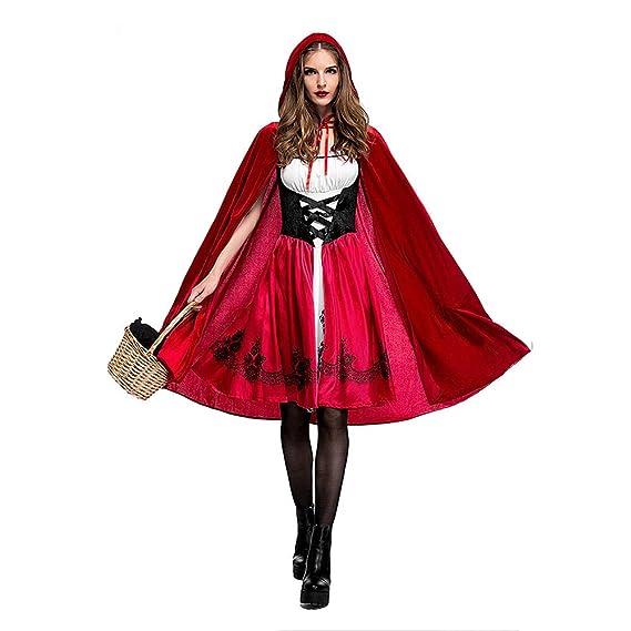 Ropa Halloween Caperucita Roja Disfraz Adulto Cosplay Vestido + Capa Disfraz de Cosplay Fiesta Decoración Creativa Vestido de la Reina