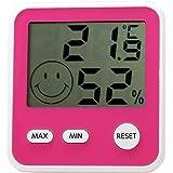 エンペックス気象計 温度湿度計 デジタルmidi 置き掛け兼用 チェリーピンク TD-8315