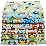 "7pcs 15.7""x19.7"" Cartoon Owls Print Cotton Fabric,Sewing Patchwork and Quilting Bundles"