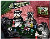 Miniature Schnauzer Dogs Playing Poker 551 Pc. Puzzle with Photo Tin