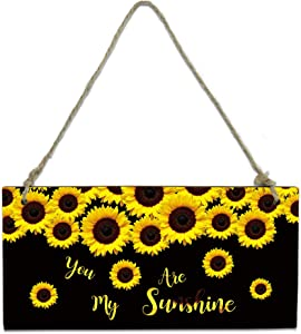 Welcome Wood Plaque Sign Farm Sunflower Blossom Farmhouse Door Hanging Wooden Sign Board Yellow Black Decorative Wooden Door Hangers with Ropes for Porch Wall 8 x 4 inch