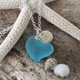 """Personalizable,""""Heart of the Sea"""" Blue sea glass necklace with""""Initial Charm"""", sterling silver chain, Hawaiian Gift, FREE gift wrap, FREE gift message, Valentine's Day"""