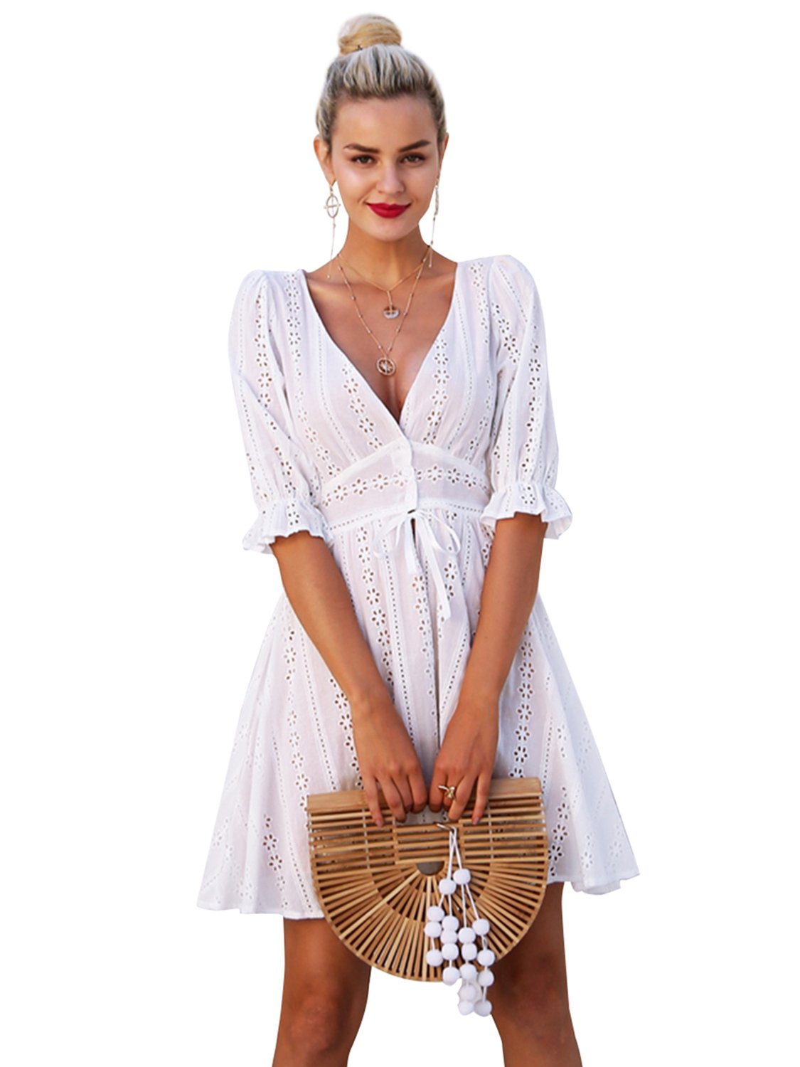 Simplee Womens Sexy V Neck Hollow Out Cotton Dress Beach Party Wedding Mini Dress,White 2,4/6(Small)