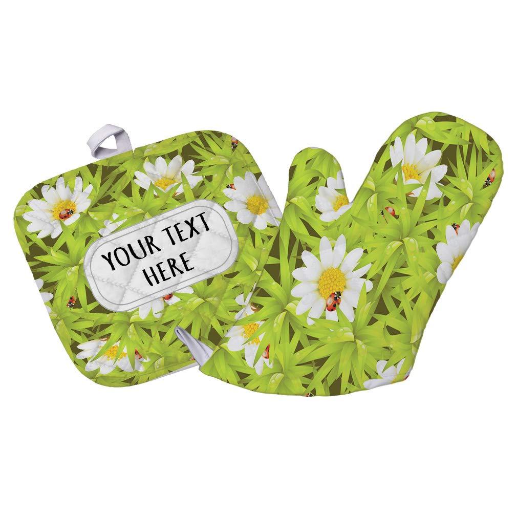 Polyester Oven Mitt & Pot Holder Set Custom Daisy Flower Seemless Pattern Adults Heat Resistant Pads