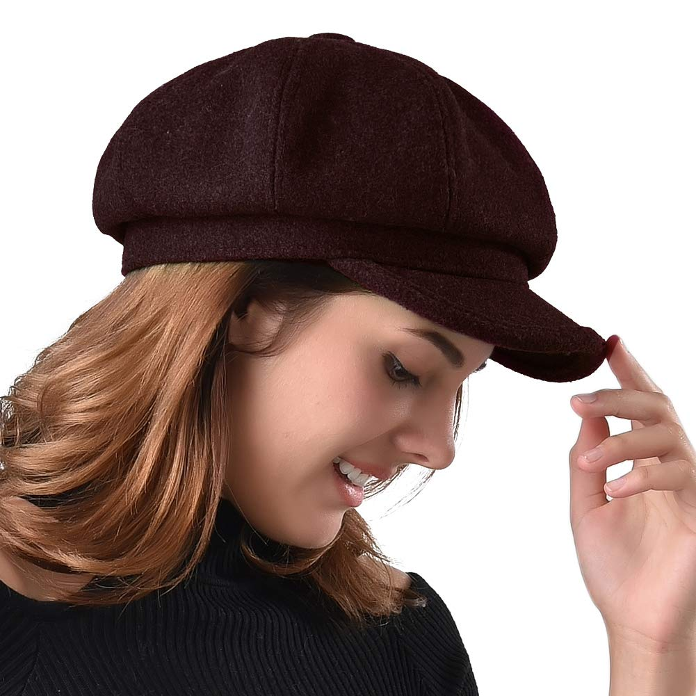 Women's Newsboy Cap Paperboy Hat Winter Wool Beret Hat Cabbie Fiddler Hat by FURTALK