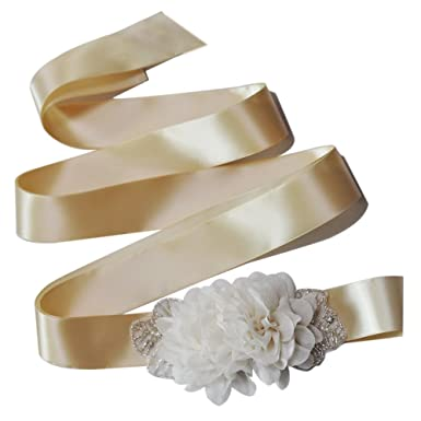 TOPQUEEN Fleur mariée ceinture femme ceintures ceintures Sash de mariage  pour mariage (Champagne) 5134622e25d