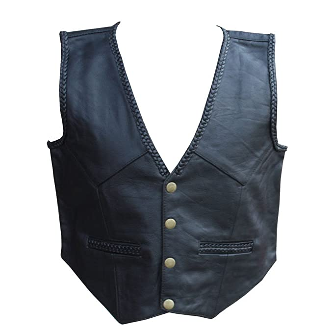 Brand New Kids Boys//Girls Real Leather Black Braided Biker Style Waistcoat//Vest