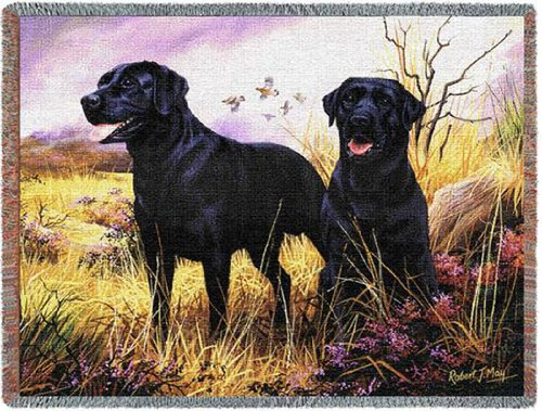 Pure Country 1137-T Black Lab Pet Blanket, Various Blended Colorways, (Black Lab Throw)