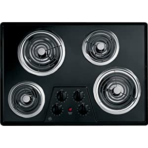 "GE JP328BKBB 30"" Electric Cooktop with 4 Coil Heating Elements in Black"