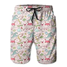 Vvw4 Cute Whale Pattern Breathable Surf Board Beach Shorts Surfing Trunks With Poket For Men