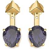 Missoma Boucles d'Oreilles Vermeil Ovale Lolite (La) Violet Femme