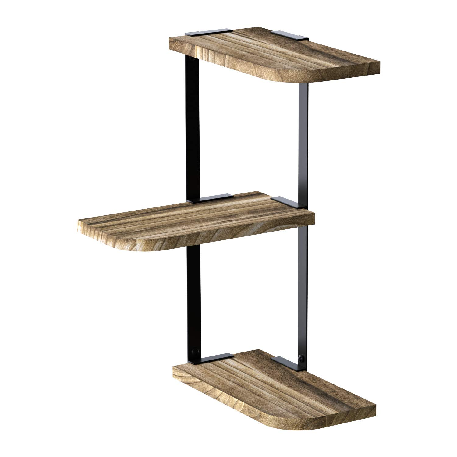 Love-KANKEI Corner Shelf Wall Mount of 3 Tier Rustic Wood Floating Shelves for Bedroom Living Room Bathroom Kitchen Office and More Carbonized Black by Love-KANKEI