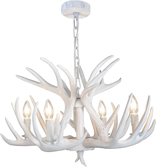 EFFORTINC Resin Antler Chandelier White Antler Chandelier Living Room Dining Room Easy Installation 4 Lights