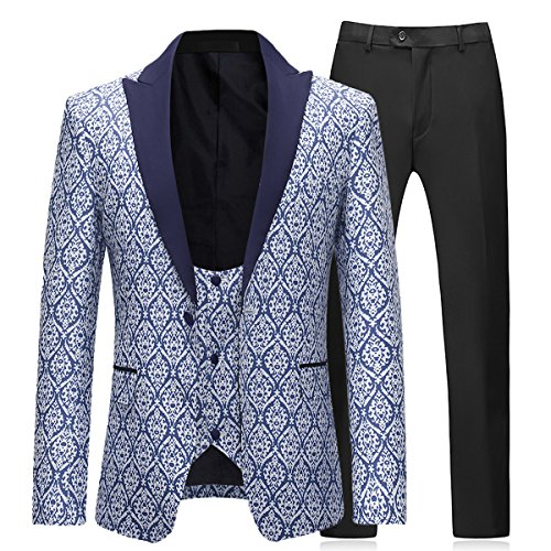 Boyland Mens 3 Pieces Tuxedo Suits Formal Wedding Peaked Lapel Blazer with Vest and Trousers Prom Tuxedo Blue from Boyland