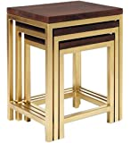 JGS Wooden & Iron Nesting Tables Set of 3 Stools for Home (Golden)