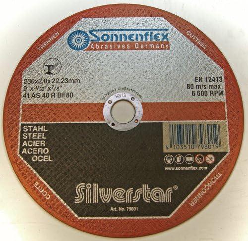 Sonnenflex 25-Stück Silverstar 230 x 2 x 22, 23 mm, Trennschleifscheiben für Stahl, AS 40 R BF