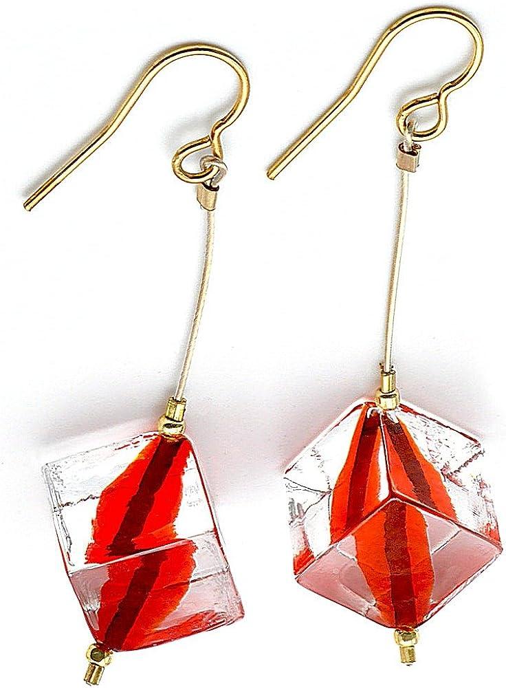 Rumba rojo–Pendientes con perlas Cube rojo joyas de cristal de Murano de Venecia