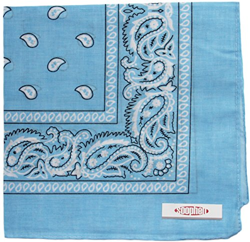 - Soophen Paisley One Dozen Cowboy Bandanas (Sky Blue 22 X 22 in, 12-Pack)