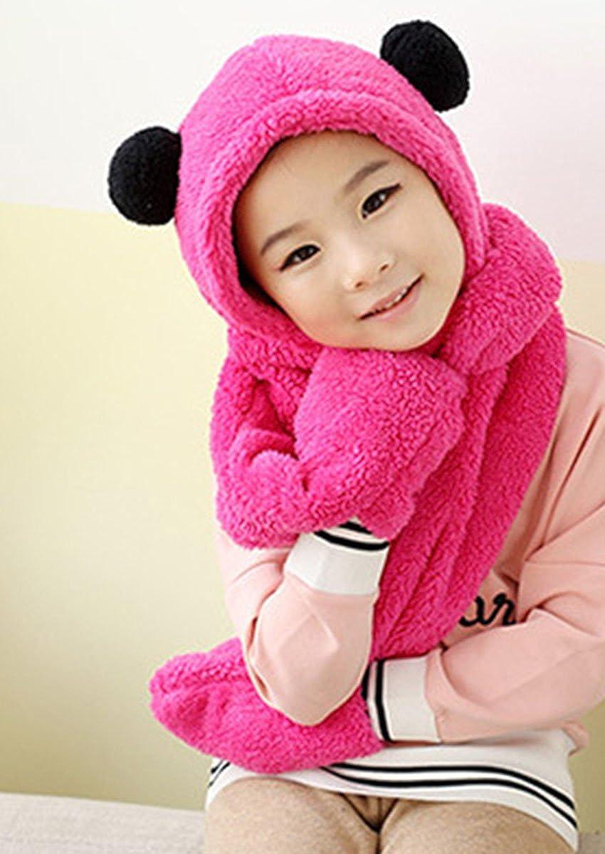 Aivtalk Children Warm Fleece Earflap Hat Winter Long Scarves Hooded Scarf Gloves Sets