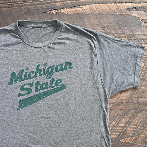 Nudge Printing Michigan State University Spartan MSU Hockey Script Logo T-Shirt - Charcoal Grey (XL)