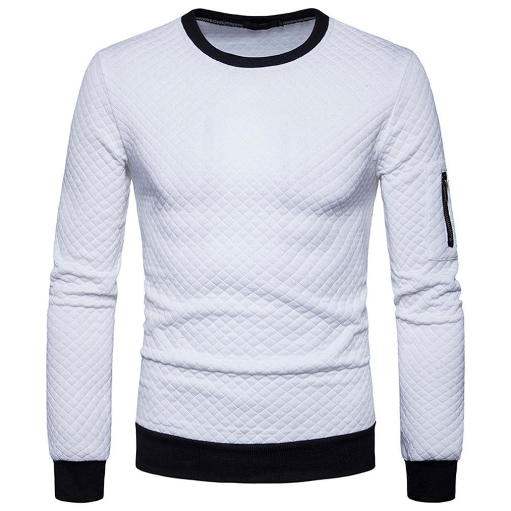 HTHJSCO Sweatshirt Tops Jacket Coat Outwear, Mens Casual Slim Fit Basic Designed Knit Pullover Sweater (White, XL)