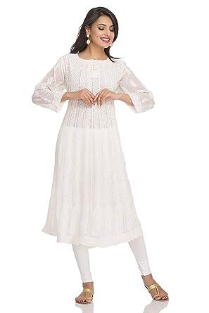 69f7f22fb ADA Women s Lucknow Chikankari Handmade Ethnic Wear Faux Georgette Anarkali  Kurti (Fawn