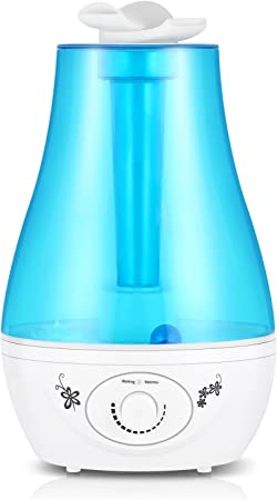 Ultrasonic Cool Mist Humidifier 3L, Two 360° Rotatable Mist Outlets, Over 12 Hours of Use, 3 Liter High Capacity with Whole House Humidifier, Air