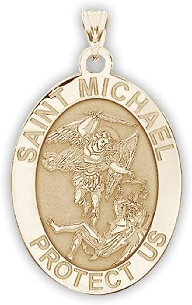Sterling Silver PicturesOnGold.com Saint Michael Scalloped Round Religious Medal Color 2//3 Inch Size of Dime