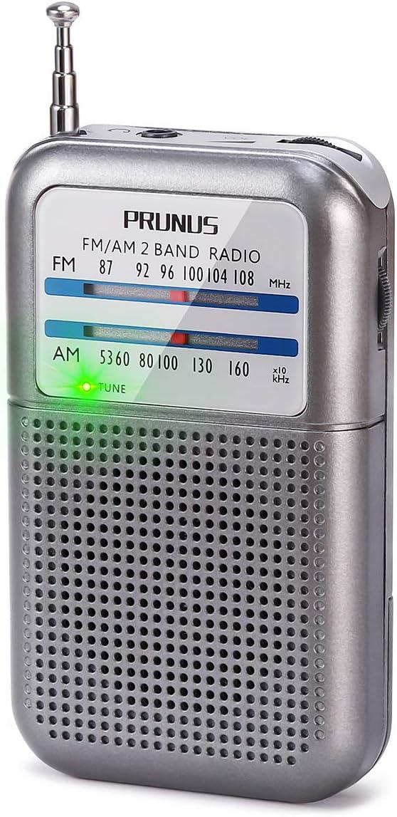 PRUNUS Radio de Bolsillo FM/Am, Radio Portatil Pequeña con Excelente Señal, Sintonizador con Indicador. Funciona con AAA Pilas Intercambiables ...
