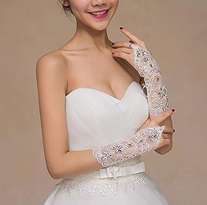 Fishlove Long Fingerless Rhinestone Beaded Lace Bridal Wedding Gloves For Women G13 at Amazon Womens Clothing store: