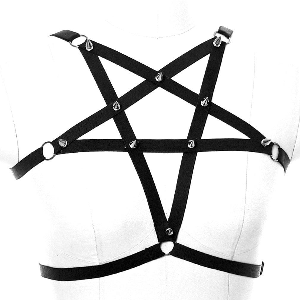 3af3359a535d4 Amazon.com  Female Body Harness Gothic Punk Bandage Pentagram Adjustable  Elastic Strap Cage Frame Bra Top  Clothing