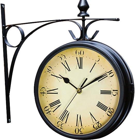 CAO-Decor Reloj Jardín Retro para el Aire Libre en la estación, Reloj de Pared, de Doble Cara con el Interior del Patio del Reloj, 32 * 33 cm: Amazon.es: Hogar