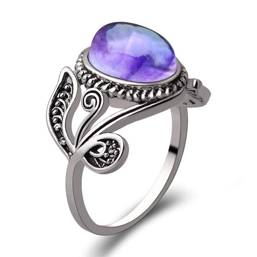 Tuu in Stock Rings,Women Natural Semicircle Amethyst Crystal Rings for Jewelry Gifts (10, Multicolor)