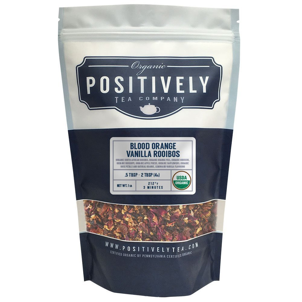 Positively Tea Company, Organic Blood Orange Vanilla Rooibos, Rooibos Tea, Loose Leaf, USDA Organic, 1 Pound Bag by Organic Positively Tea Company