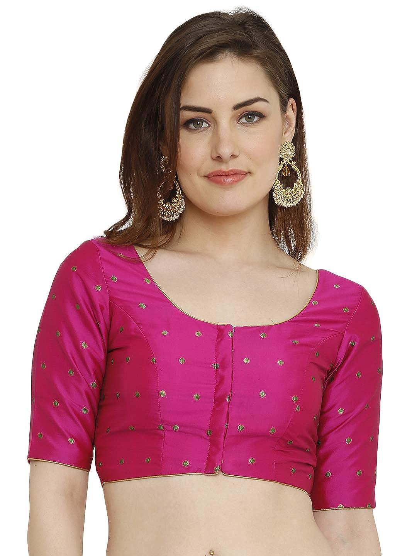 d79288e636e78 salwar studio women s pink dupion silk readymade padded saree blouse(ssb2045 pink size    32-42